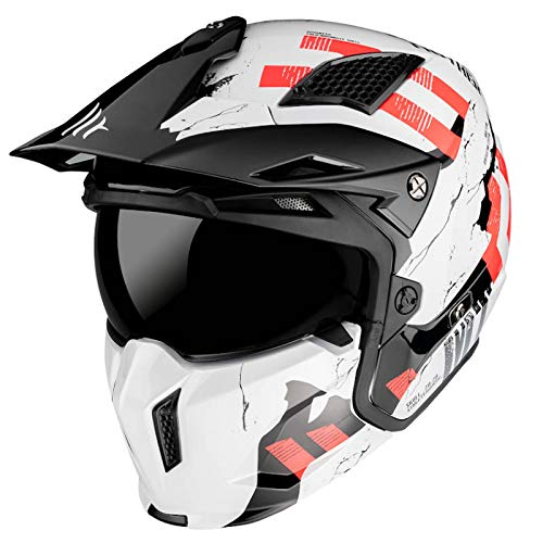 MT Helmets Streetfigther Skull 2020 Gloss Pearl White - Casco de Moto (S)