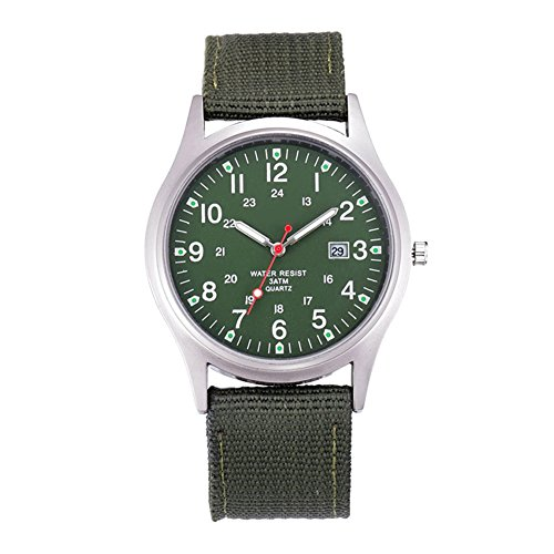 Dxlta Herren Militäruhr Quarz Analog Uhr Leinwand Armband Sport Armee wasserdichte Armbanduhr
