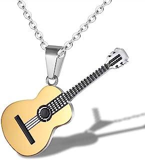 AILUOR Collar de guitarra para hombre y mujer, con cadena ajustable, estilo hip hop, estilo musical, titanio y acero para ...