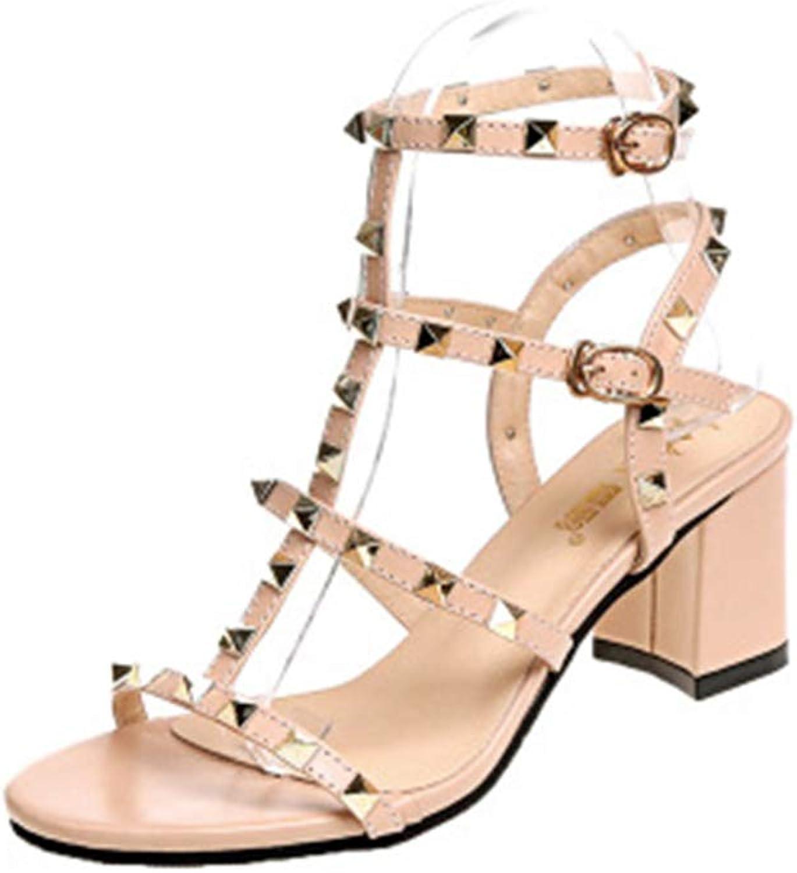 Super explosion Women's Strappy Stud Chunky Block High Heel Sandal Open Toe Pump Heeled Sandals