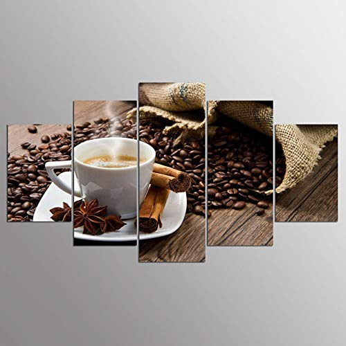 SLFWCLH 5 Canvas Paintings Painting Wall Art Modular Poster HD Printed Modern 5 Pieces Cappuccino Coffee Canvas Living Room Pictures Home Decor