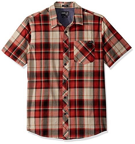 O'NEILL Herren Plaid Short Sleeve Button Down Hemd, Stone, XX-Large