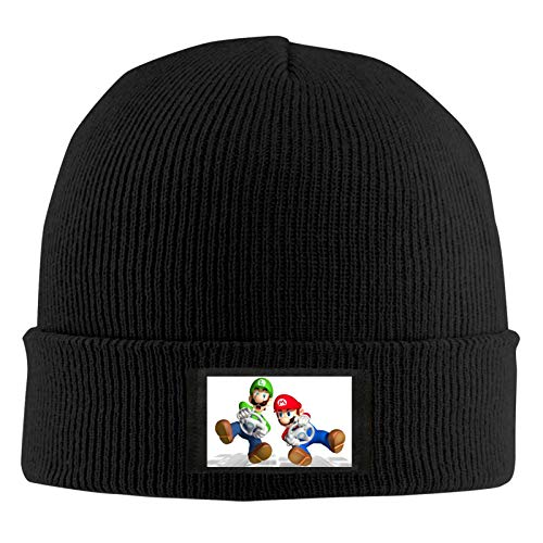 Super Mary Unisex Warmer Winter Soft Knitted Sombreros Skull Caps para Exteriores, Caminar, Correr, Negro