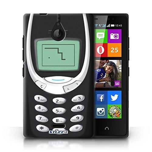 Stuff4® Custodia/Cover Rigide/Prottetiva Stampata con Il Disegno Telefoni retrò per Nokia X2 Dual Sim - Nokia 3310 Nero