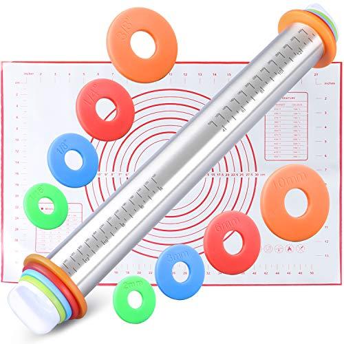 WisFox Ajustable Antiadherente Fondant Rolling Pins con Discos Ajustables y Marcado de...