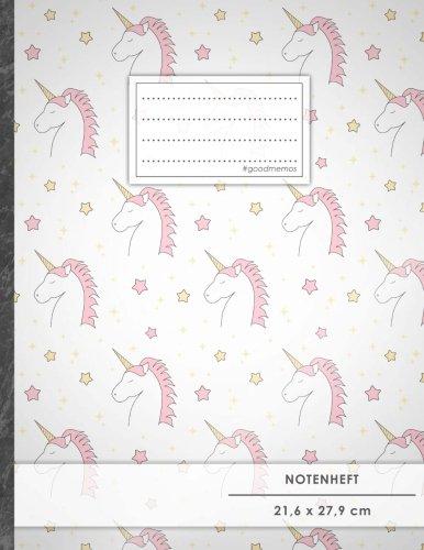 """Notenheft: DIN A4 • 48 Seiten, 24 Blatt, 12 Systeme, """"Unicorn Girls"""" • Original #GoodMemos Schulheft • Mit Inhaltsverzeichnis und Seitenzahlen, Noten-Lineatur 14"""