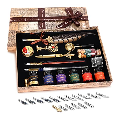 NC Quill Pen Ink Set,includes quill pen,wooden dip pen,glass dip pen,6 bottles ink,8 letter paper,1 envelope,17 Replaceable Nibs,1 bottle of fire lacquer wax,spoon,Seal Stamp,candle,pen holder, Cup.