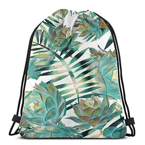 Easionerol Green Tropical Plant Drawstring Bags Gym Bag Travelling Portable