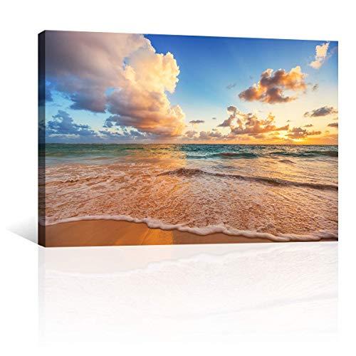 CANVAS REVOLUTION | Cuadro Decorativo Canvas Lienzo Impresión | Naturaleza | Playa Sobre Mar Caribe | Diferentes Dimensiones Tamaños Medidas Disponibles | Decoración De...