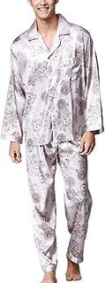Homewear Men's Spring Autumn Floral Printing Satin Pajama Set Classic Elegant Long Sleeve V-Neck Single-Breasted Dressing ...