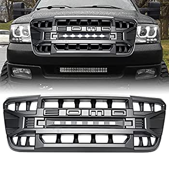 Front Grill Compatible with F150 2004-2008 Matte Black Front Bumper Grille w/Off-Road Lights
