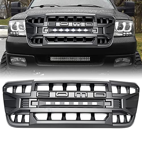 Front Grill Compatible with F150 2004-2008, Matte Black Front Bumper Grille w/Off-Road Lights
