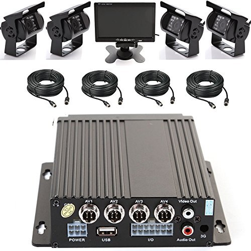 "WeniChen 4CH 960P Mobile AHD DVR Realtime Video/Audio Recorder with Remote Control + 4 pcs Waterproof 18 IR LED 720P Camera + 7"" TFT LCD Color Monitor + 4pcs Cables, Car Black Box Security System"