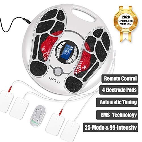 Foot Circulation Massager (FSA or HSA Eligible) EMS Foot Stimulator Device with 4 Electrode Gel Pads for Calf Feet Leg Body Acupuncture Stimulation Massage Therapy Relieve Nerve Pain
