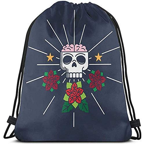 Bouia Retro Scull Rozen Label Design Trekkoord tassen sporttas sport zak zak reizen school rugzak jongens en meisjes