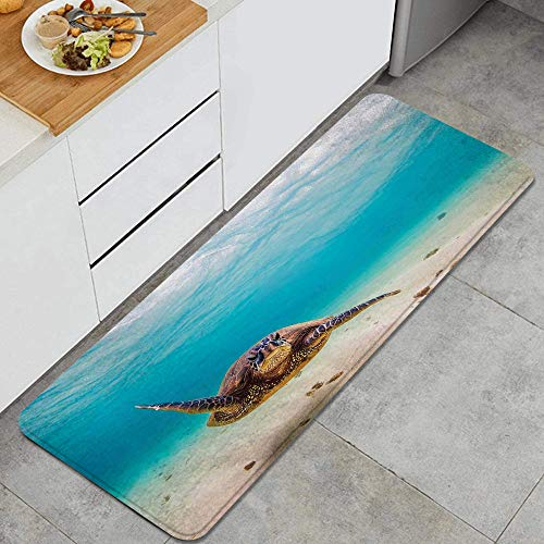 DYCBNESS alfombras de Cocina Antideslizantes Lavables,Hawaiano Submarino Buceo Tortuga Marina Naturaleza Animal Natación Vida Silvestre Tema,felpudos para Interiores y Exteriores 45x120cm