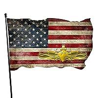 アメリカ海軍レトロ海軍水上戦将校記章ポーチ旗3x5フィートガーデン旗スタンドウェルカムヤード旗パーティー用に洗える