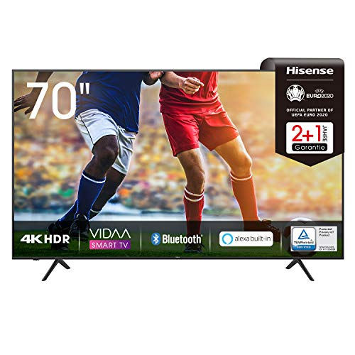 Hisense 70AE7000F 178 cm (70 Zoll) Fernseher (4K Ultra HD, HDR, Triple Tuner DVB-C/S/S2/T/T2, Smart-TV, Frameless, Bluetooth, Alexa, verstellbare Standfüße, 3 Jahre Garantie)