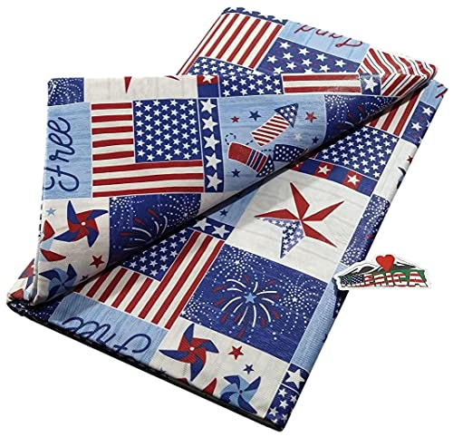 Patriotic Metal Barn Stars and Pinwheel Patchwork Vinyl Tablecloth and Custom Magnet - Flannel Backed (60' Round)