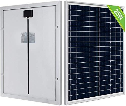 ECO-WORTHY 25W 12V Panel solar policristalino portátil para carga de batería de 12V / Aplicación fuera de la red/Luces/Ventilador