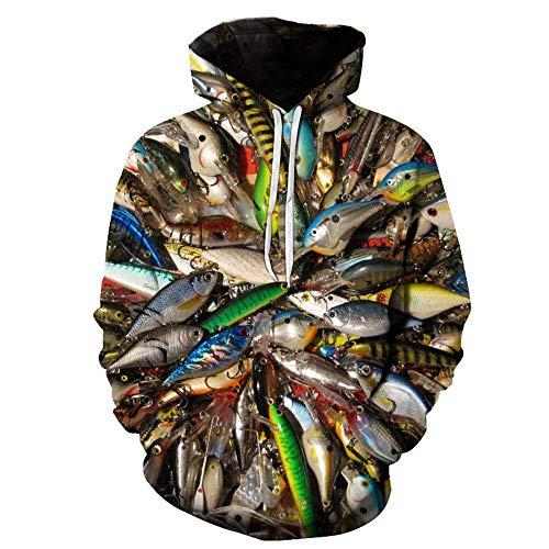 3D-MEN Sweatshirt Unisex 3D Hoodie Neuheit Personalisiertes Sweatshirt Pullover Kapuzen Stretch Hoodie Big Fish digital Printing XXL