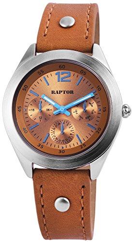 Raptor Damen-Uhr Armband Oberseite Echtleder Dornschließe Analog Quarz RA10149