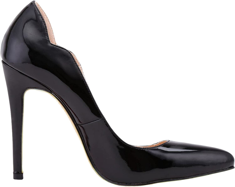 Loslandifen Womens shoes Closed Toe High Heels Women's Pointed Slender Leather Pumps