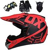 Casque VTT Integral, Casque De Motocross Enfant Adulte, avec Lunettes Masque Gants, Casque Moto Cross Set, pour BMX MTB Quad Enduro ATV Scooter - avec Design Fox- Rouge Mat,L