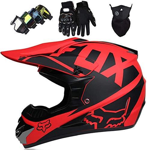 Casco Motocross Bambino Omologato DOT Casco Moto Integrale Unisex per Downhill Enduro MTB Scooter Quad Bike ATV con Design Fox (Occhiali+Maschera+Guanti) - Opaco Rosso,S
