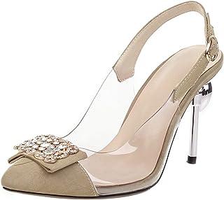 SUCREVEN Femmes Décontractée Cap Toe Bride Arrière Chaussures Transparent