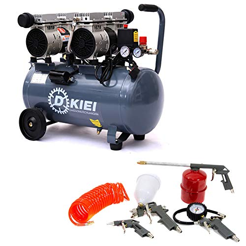 Low Noise Silent Air Compressor 50 Litre 9.6CFM 3.5HP Oil Free with 5 Piece Air Tool Kit with...