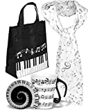 Music Lover Gifts, Music Gifts, Music Teacher Gifts for Women, Gifts for Music Teachers, Music Gift for Piano Teachers and Musicians, Musical Notes Print Scarf, Piano Keys Handbag, Music Mugs