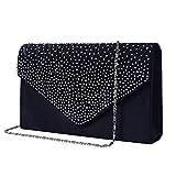 Bolso de Fiesta Noche Mujer Embrague Cartera de Mano de Satén para Mujer Diamantes, Bolsa de Cadena del Monedero para Boda y Baile, Bolsas de Hombro, Armada