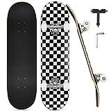DazSpirit Skateboards, 31 x 8 Skateboard Completo de Doble Patada para Principiantes 7 Capas de Arce Monopatín Cóncavo para Niños y Niñas para Adolescentes y Adultos con Herramienta en T (Enrejado)