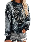 KUNISUIT Women's Tie Dye Oversize Pullover Top Casual Long Sleeve Sweatshirts(X-Large, Black-24)