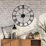 Reloj de pared moderno con números romanos grandes, no se hace tictac, redondo, de metal, silencioso, para sala de estar, cocina, dormitorio, jardín, relojes de pared vintage, 60 cm, color negro