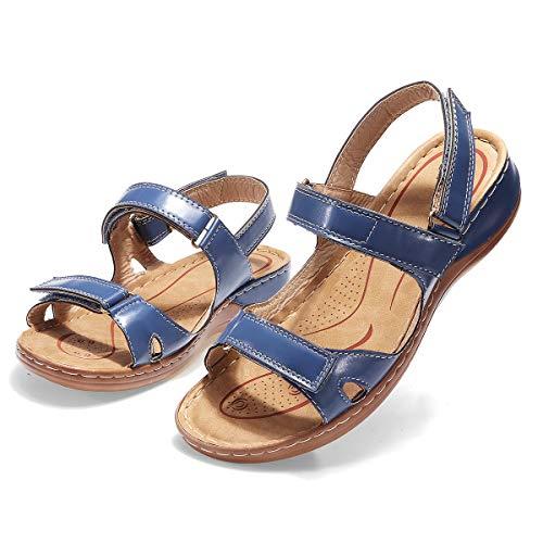 gracosy Sandalias Planas Mujer Verano Zapatos Hook Loop Sandalias de Cuero Correas de Playa Ajustables Tacones Bajos Deportivas cómodas Zapatos para Caminar