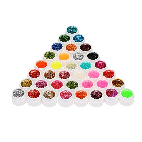 Anself - Set smalto per unghie brillantinato in 36 colori assortiti