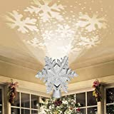 Emopeak Christmas Tree Topper Lighted with White Snowflake Projector, 3D Glitter Lighted...