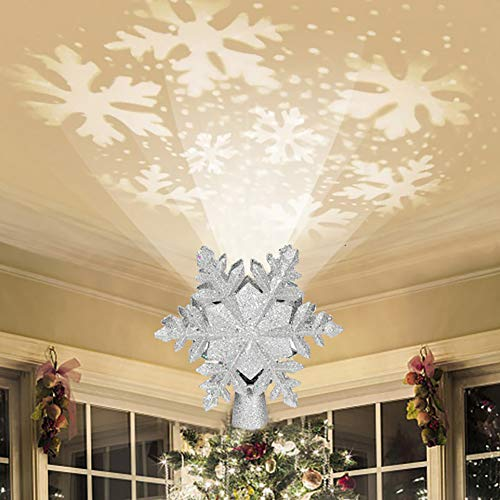 Emopeak Christmas Tree Topper Lighted with White Snowflake Projector, 3D Glitter Lighted Sliver,LED Rotating Snowflake, Snow Tree Topper for Christmas Tree Decorations