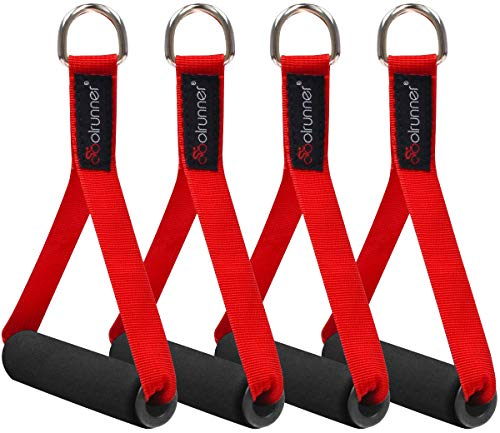 Coolrunner 2 Pair Resistance Band Handles Grips Fitness Strap Wide Design Heavy Duty Cable Handles with Solid ABS Cores, Heavy Gauge Welded D-Rings (4-Piece Set)