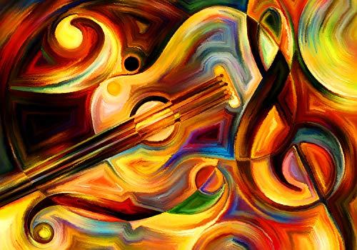 wandmotiv24 Fototapete Gemälde Notenschlüssel und Gitarre L 300 x 210 cm - 6 Teile Fototapeten, Wandbild, Motivtapeten, Vlies-Tapeten Abstrakt Kunst M5992