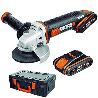 scheda worx wx800 smerigliatrice angolare a batteria 20v, impugnatura supplementare, 8.600 giri/min, diametro del disco 115 mm - 2 batterie e caricatore rapido inclusi