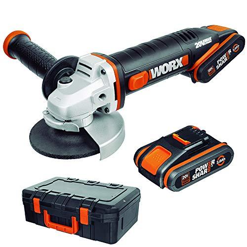 Worx WX800 Smerigliatrice Angolare a Batteria 20V, Impugnatura Supplementare, 8.600 giri/min, Diametro del Disco 115 mm - 2 Batterie e caricatore rapido Inclusi
