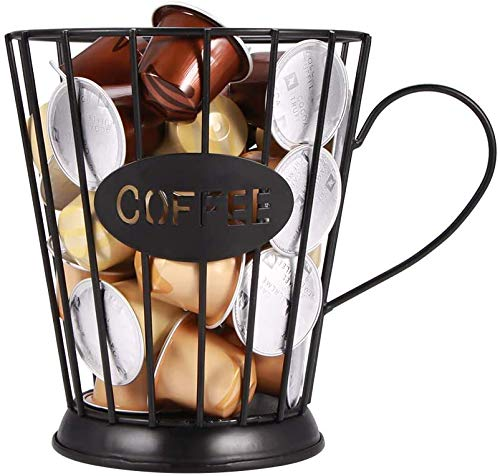 2021 NEW K Cup Holder Black Mug Shape Coffee Pod Holders, Coffee Mug Wire Storage Basket Large Capacity Espresso Pod Holder, Coffee Kcup Kpod Storage Organizer for Counter Coffee Bar (Style B-Black)