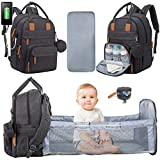 Baby Diaper Bag Backpack with Changing Station,Travel Bassinet,Pacifier Case 3 in 1 Baby Bag Backpack with Bed for Girls Boys,Mommy Bag USB Charging Port,Foldable Crib Unisex for Men Dad Mom Dark Grey