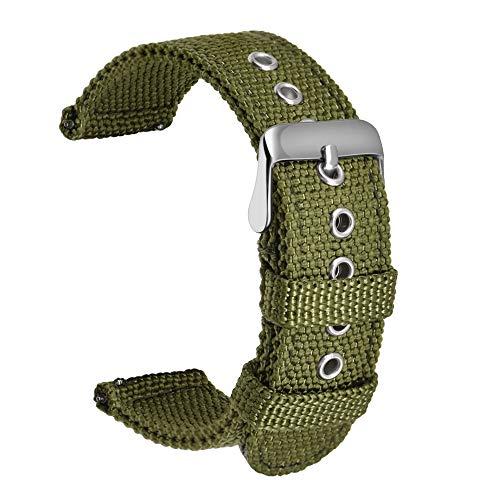 Ullchro Nylon Cinturini Orologi Alta qualità Orologi Bracciale Militari Esercito - 18mm, 20mm, 22mm, 24mm Cinturino Orologio Fibbia Dell'acciaio Inossidabile (22mm, Army Green)