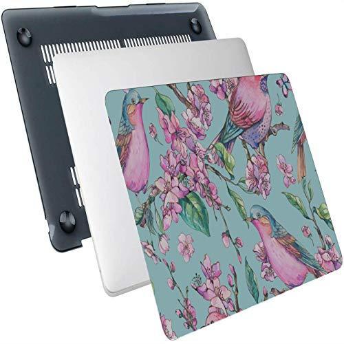 Macbook Pro 2015 Funda Floral Birds Pintado Plástico Hard Shell Compatible Mac Air 13'Pro 13' / 16'Funda Protectora para Macbook Air Funda Protectora para Macbook 2016-2020 Versión