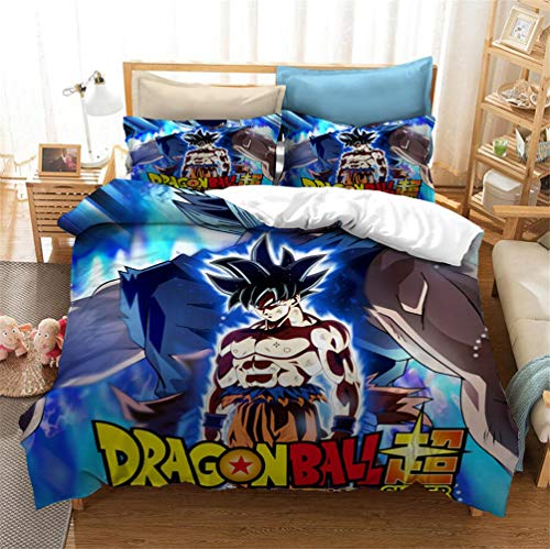 EA-SDN Dragon Ball Z Duvet Set, Goku Dragon Ball Pattern Bedding Set Single/Double Size for Kids & Teens, polyester (A04,200 x 200 cm)