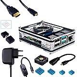 Miuzei Gehäuse für Raspberry Pi 4 mit Lüfter, 3A USB-C Netzteil, 1.8M Micro-HDMI Kabel, Micro HDMI zu HDMI Adapterkabel, 4 Aluminium Kühlkörper, USB Kartenleser für Raspberry Pi 4